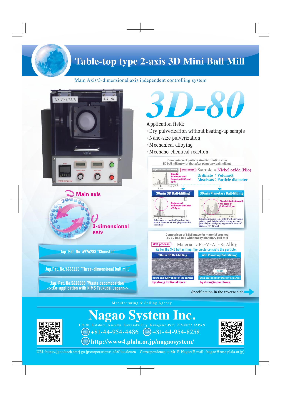 NAGAO SYSTEM INC. 3D-80 Ball Mill brochure.