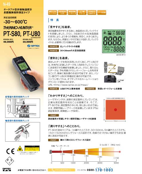 長距離狭視野測定タイプポータブル型非接触温度計PT-S80/U80