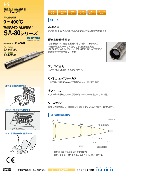 シリンダータイプ設置型非接触温度計SA-80シリーズ