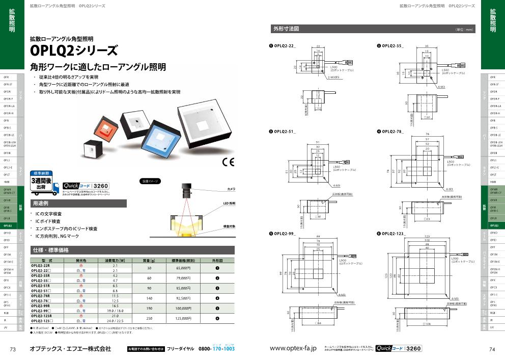 拡散ローアングル角型照明OPLQ2シリーズ