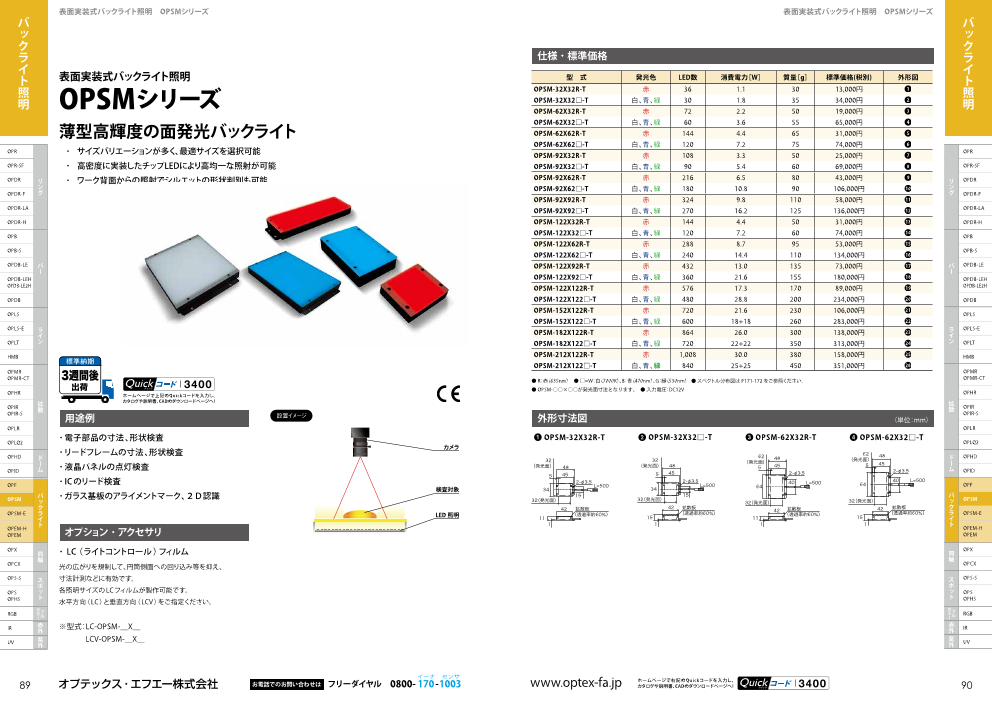 表面実装式バックライト照明OPSMシリーズ