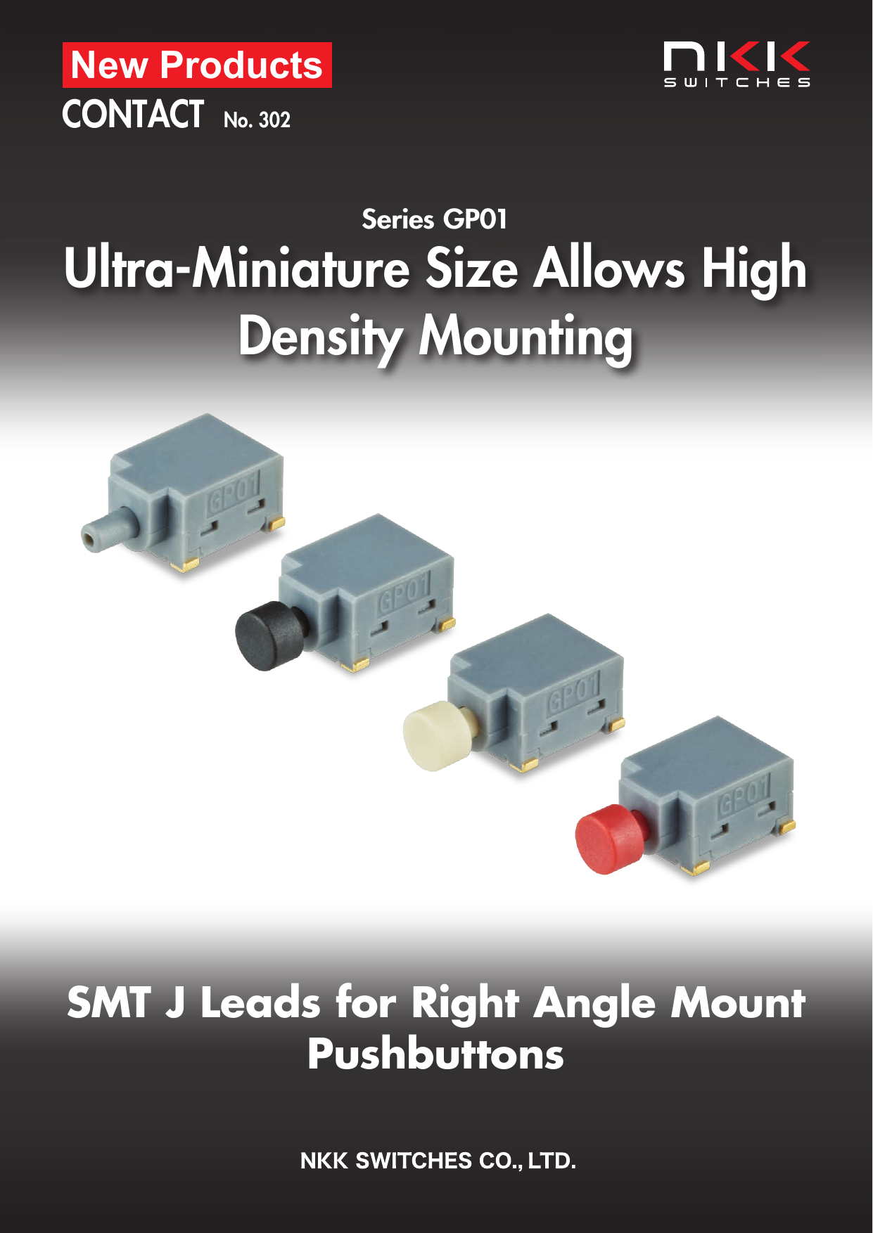Series GP01 :  SMT J Leads for Right Angle Mount Pushbuttons