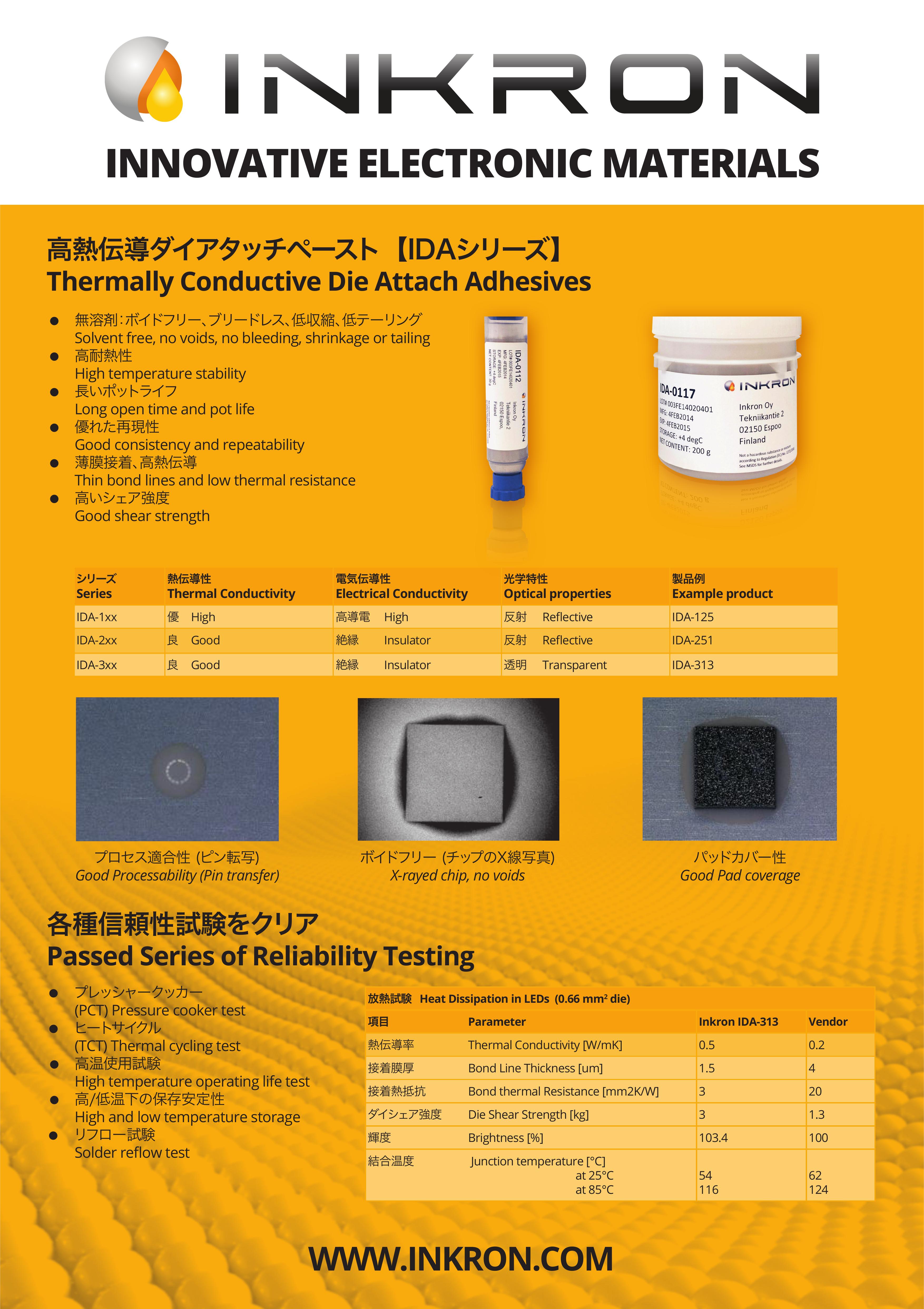 INKRON社総合カタログ(ダイアタッチペースト・封止材・インク)