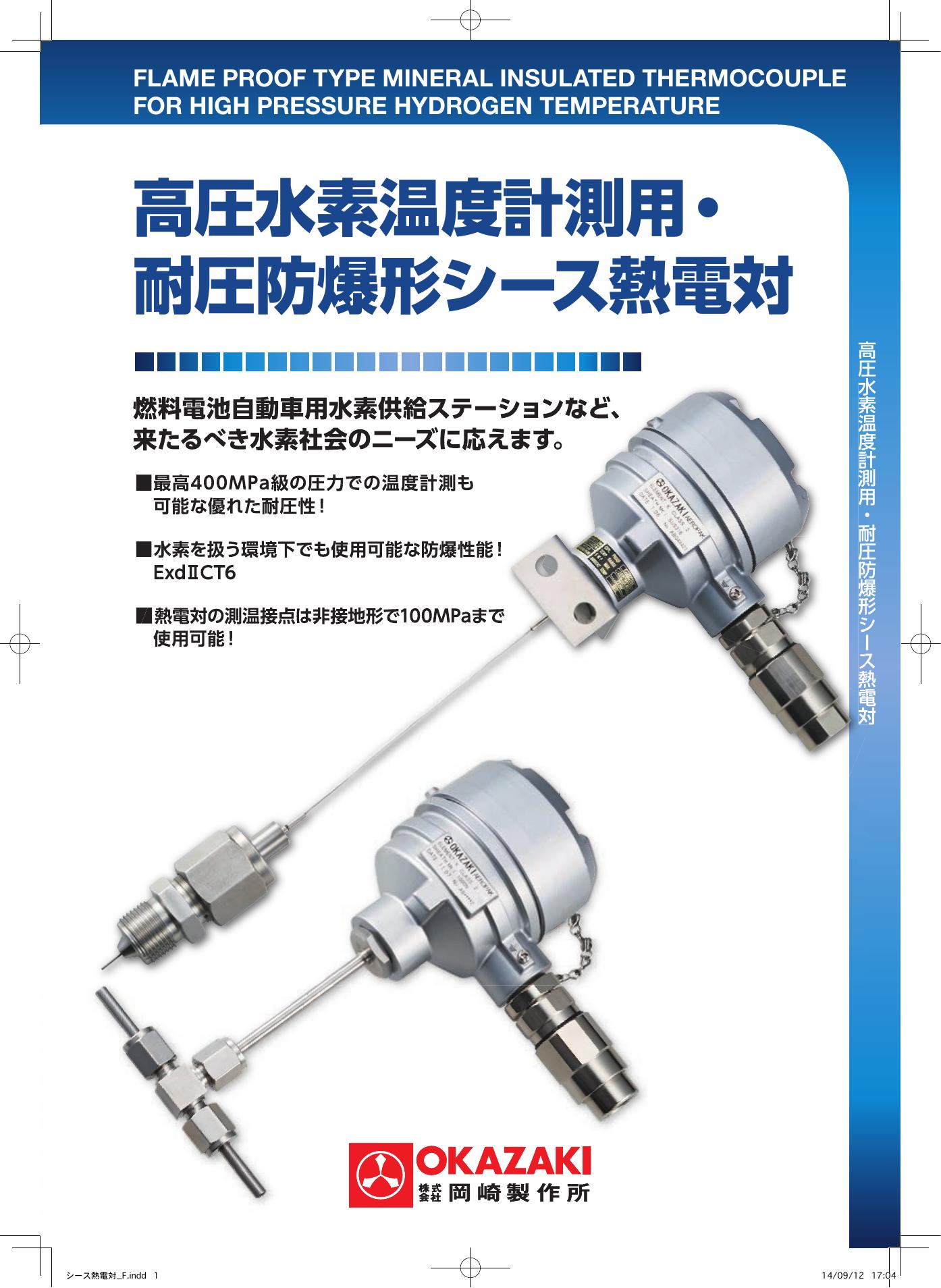 高圧水素温度計測用・耐圧防爆形シース熱電対