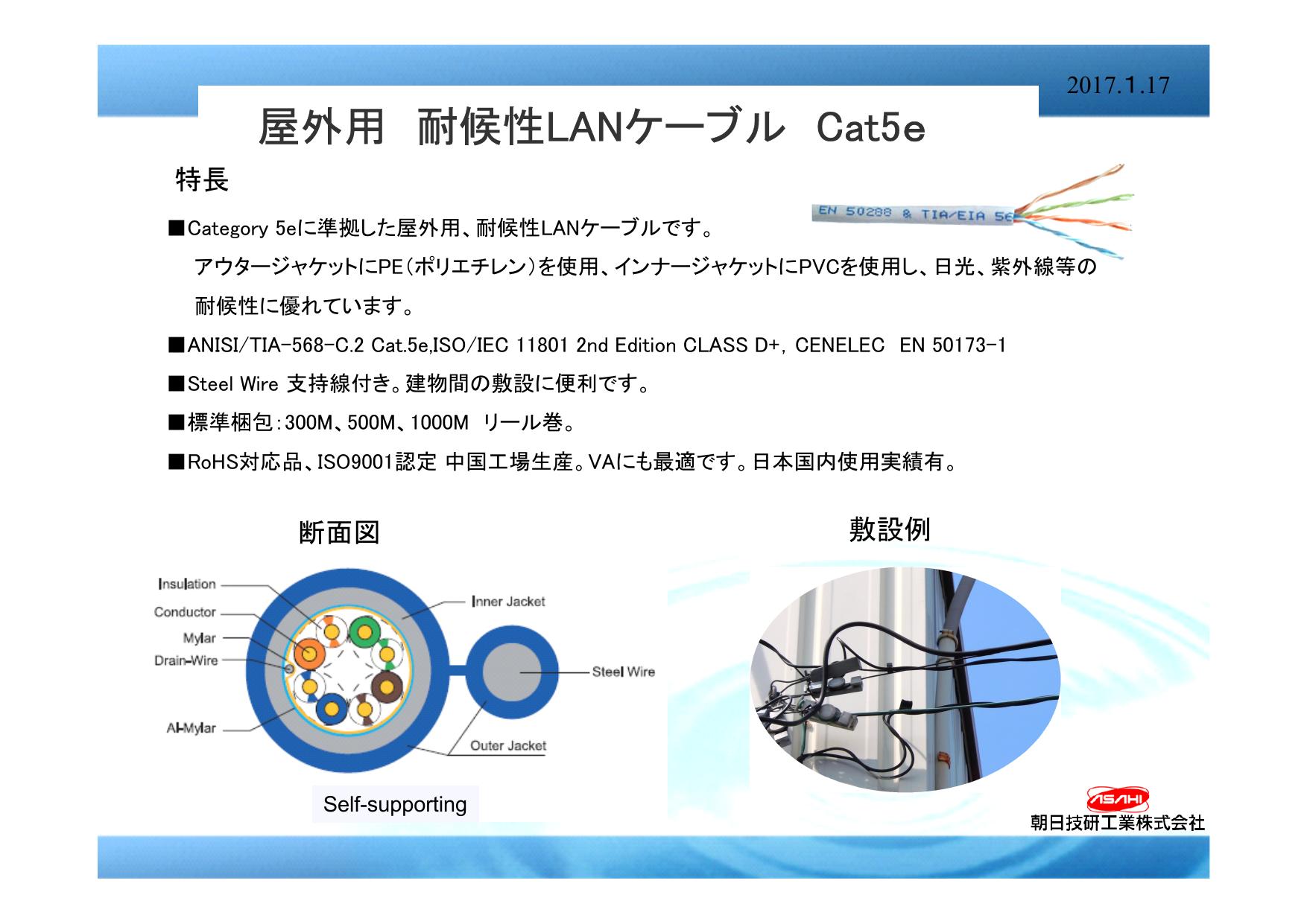 屋外用 耐候性LANケーブル Cat5e