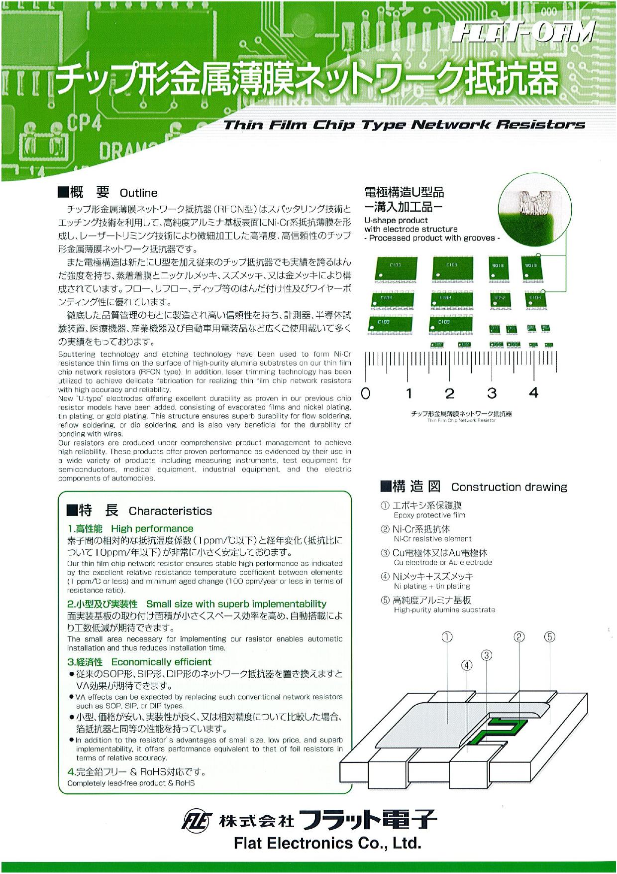 チップ形金属薄膜ネットワーク抵抗器