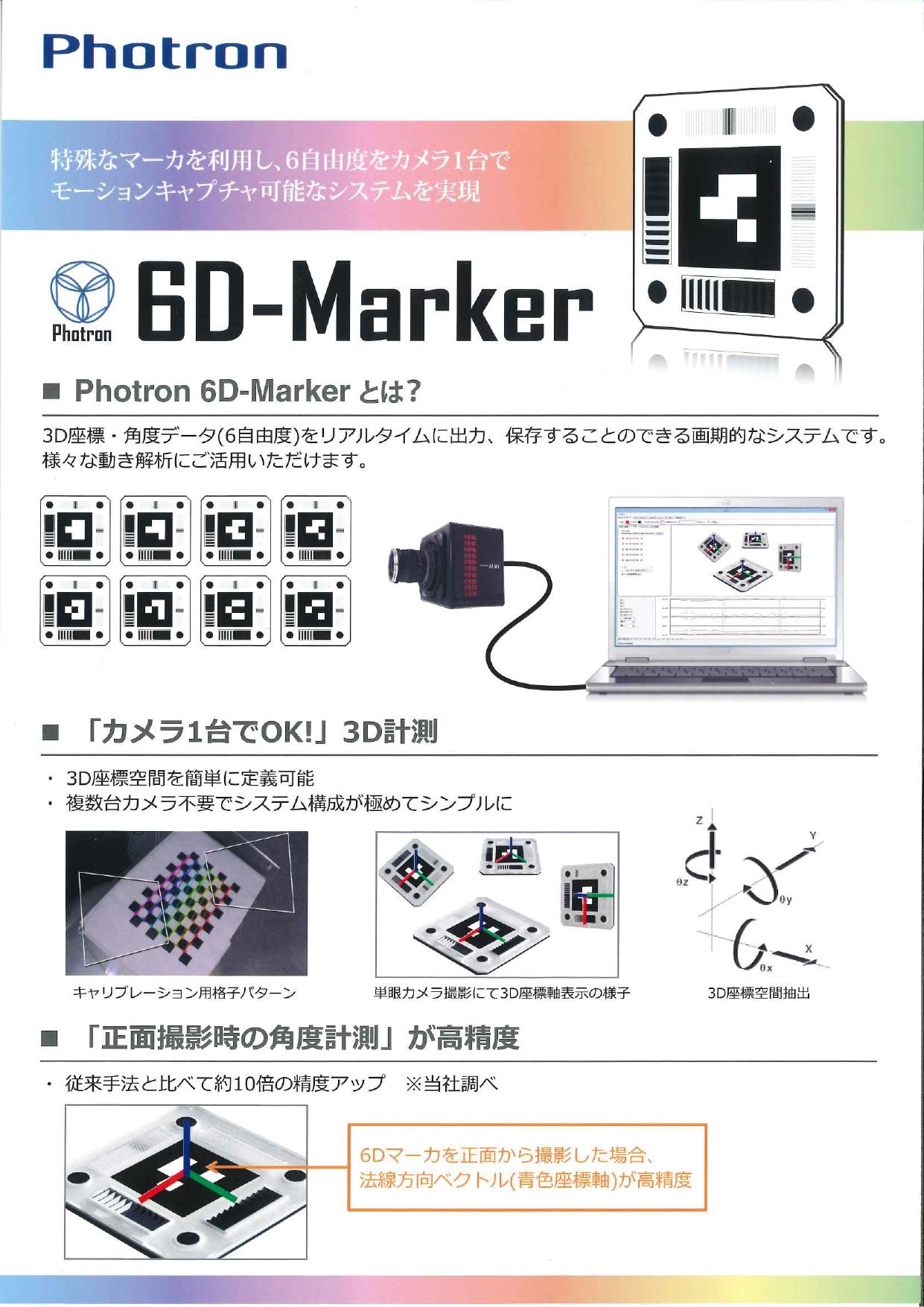 3D座標・角度データ(6自由度)をリアルタイムに出力・保存 6D-Marker