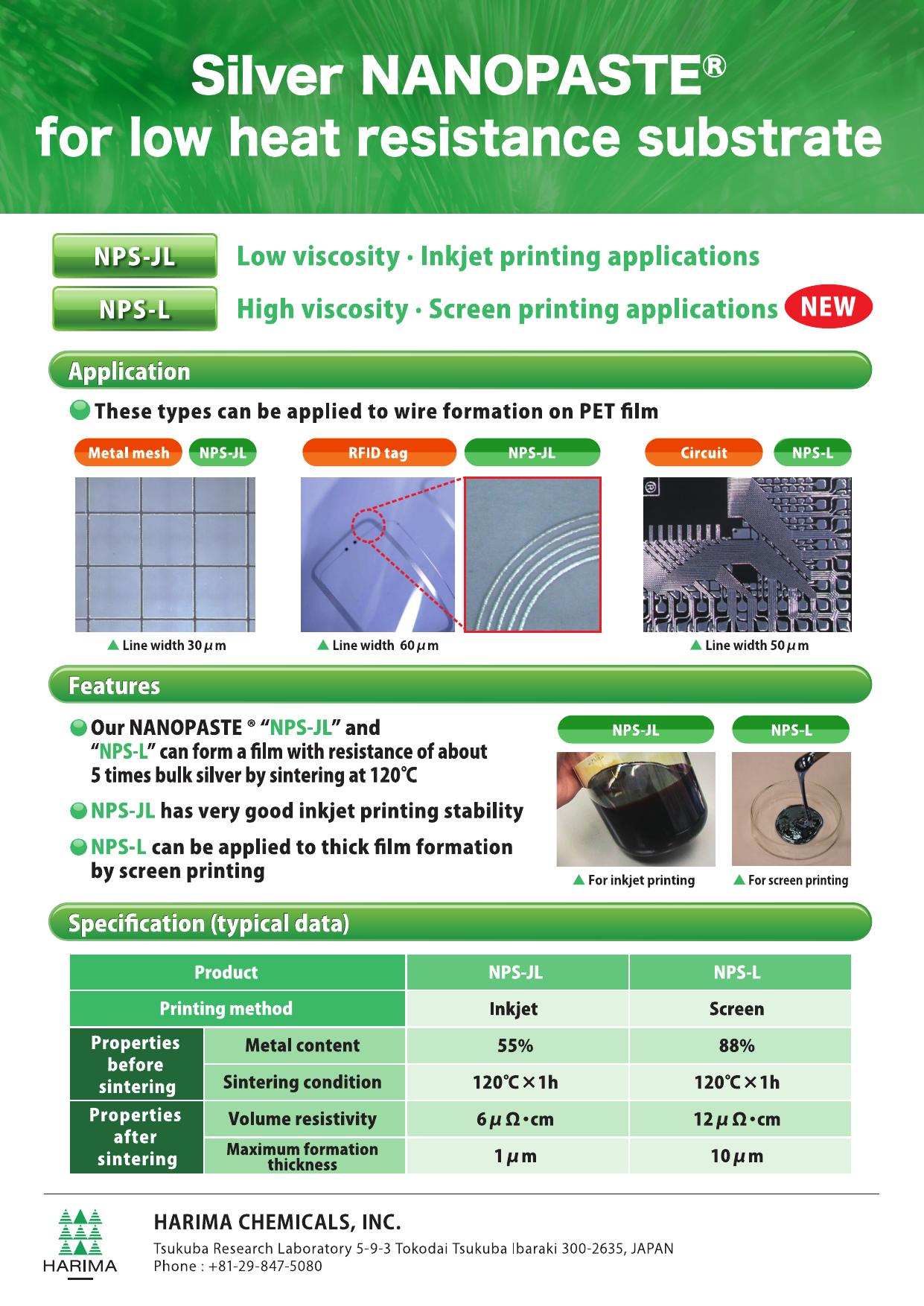 Silver nanopaste / Silver hybrid paste catalog