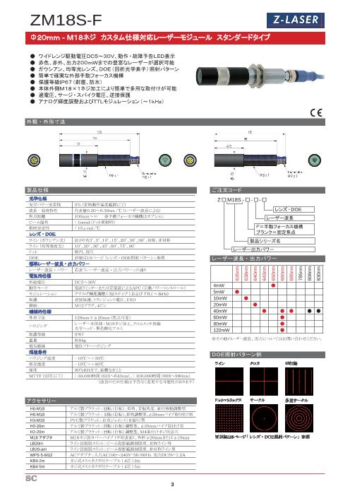 ZM18S-F レーザーモジュール スタンダードタイプ