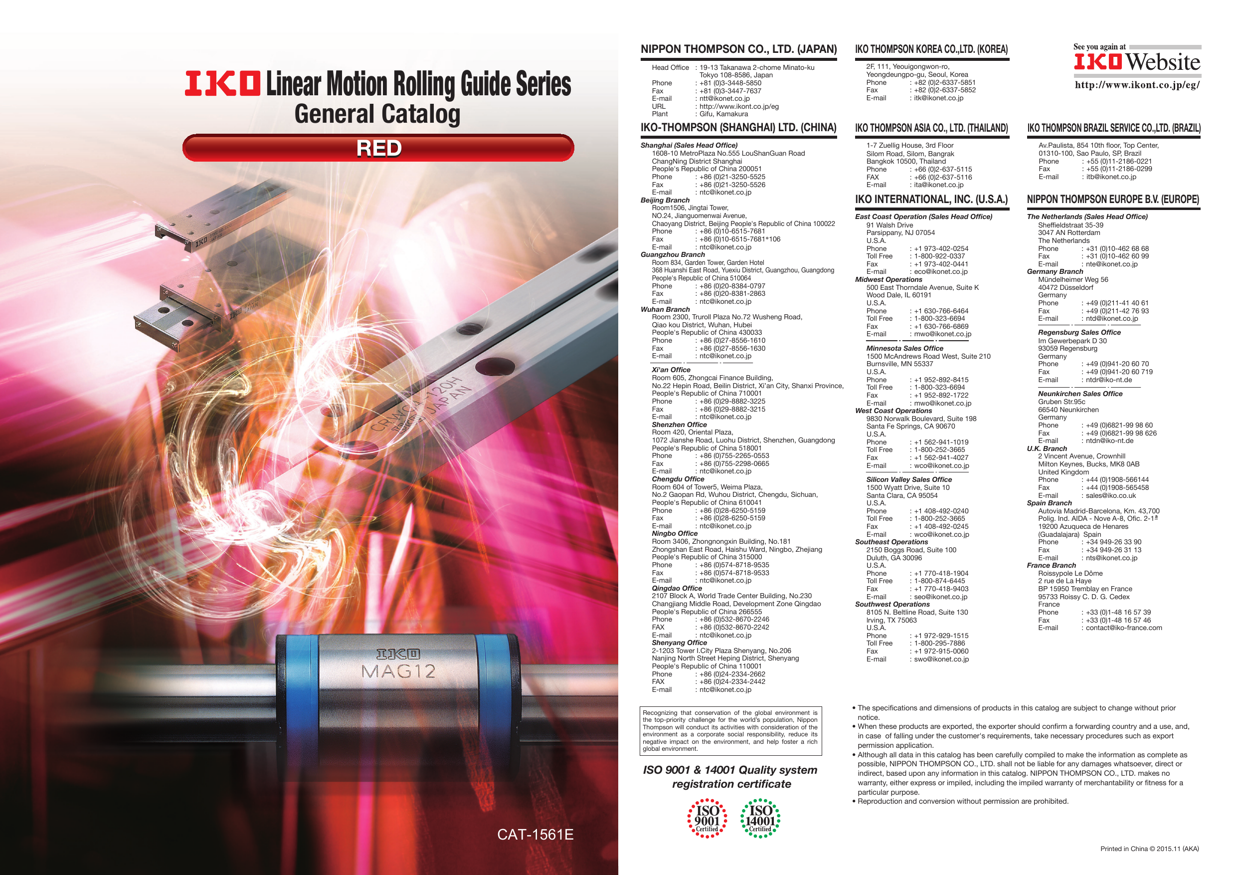 IKO Linear Motion Rolling Guide Series General Catalog RED