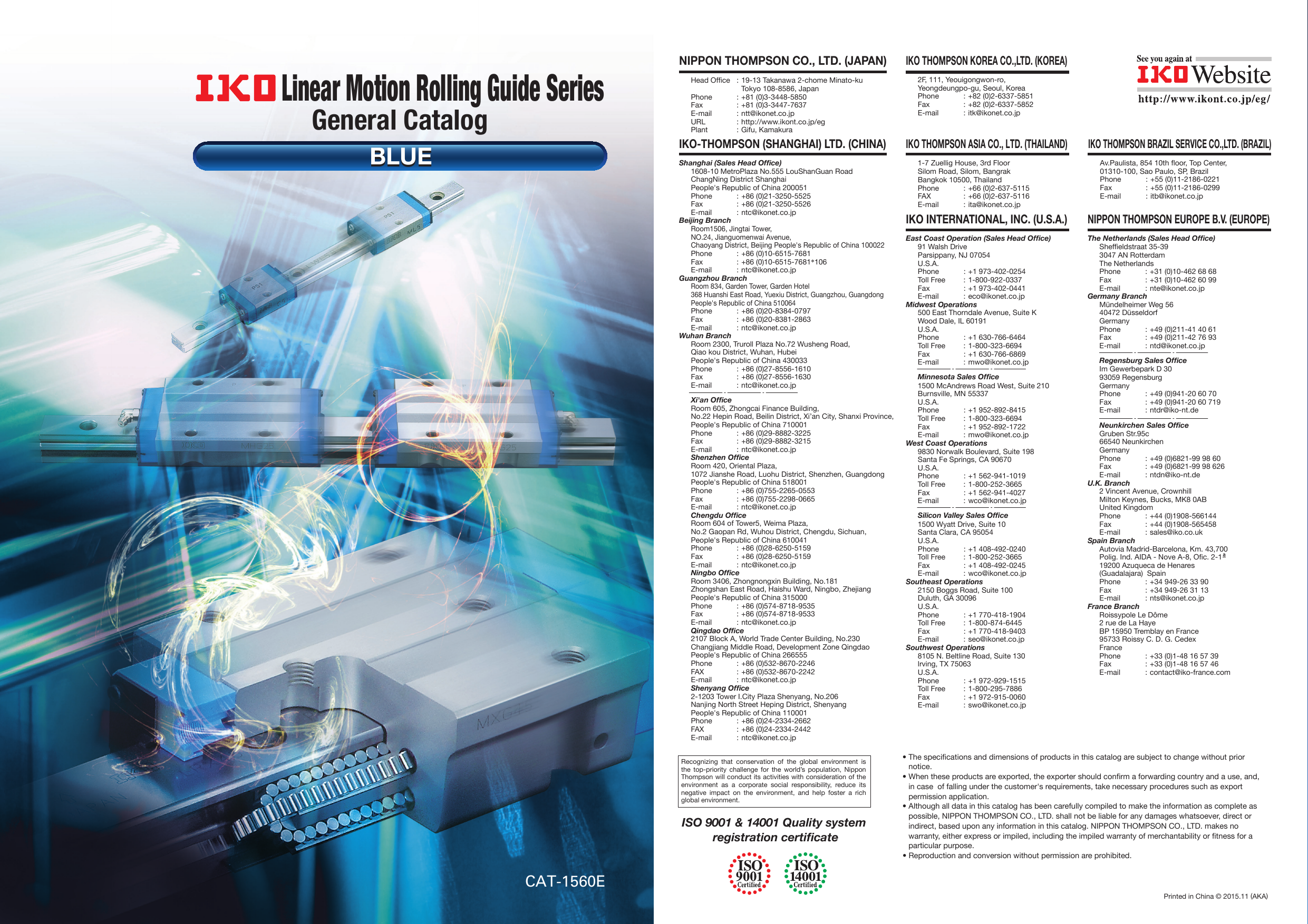 IKO Linear Motion Rolling Guide Series General Catalog BLUE
