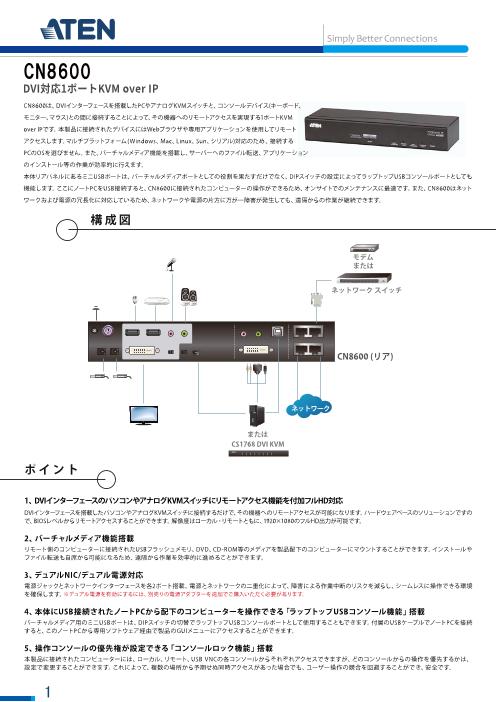 1ローカル/リモート アクセス共有 1ポート DVI KVM over IP(解像度1,920×1,200対応) CN8600