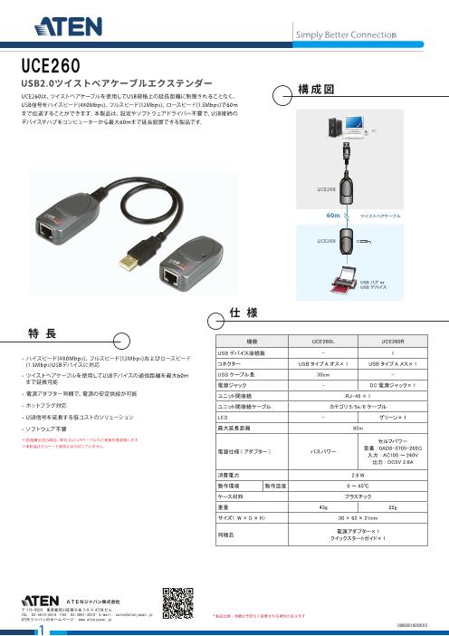 USB2.0ツイストペアケーブルエクステンダー(最大60m延長) UCE260