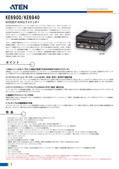 USB DVI-I シングルディスプレイ IP-KVMエクステンダー KE6900