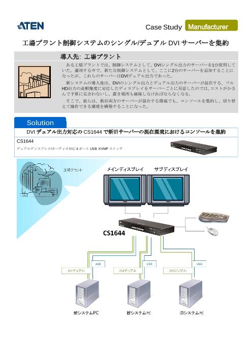【事例紹介】工場プラント制御システムのシングル,デュアルDVIサーバーを集約