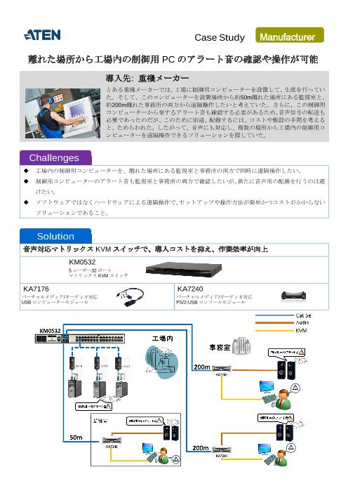 【事例紹介】離れた場所から工場内の制御用PCのアラート音の確認や操作が可能