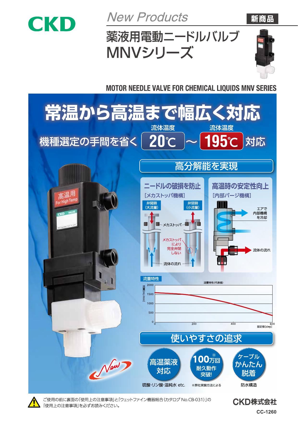 薬液用電動ニードルバルブMNVシリーズ