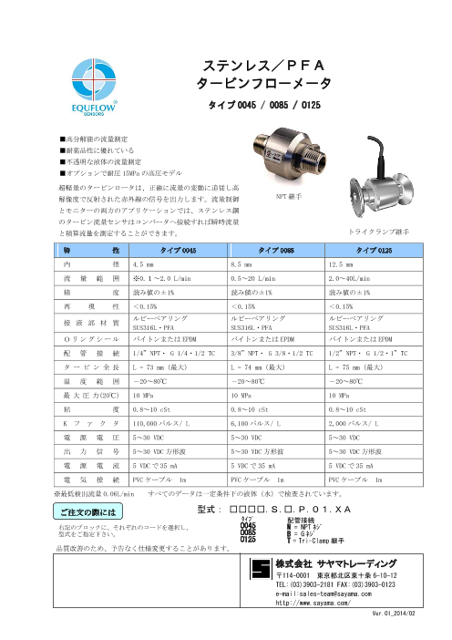 エクフロー社 流量センサ タービンフローメータ ステンレス/PFA