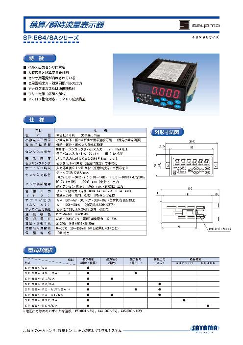 積算/瞬時 流量表示器 デジタルパネルメータ SP-564