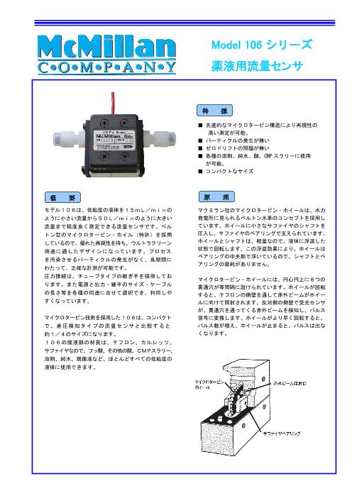 マクミラン社 小型薬液 流量センサ 106シリーズ