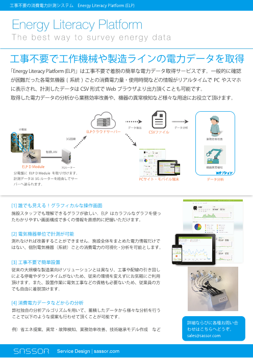工事不要の消費電力計測システム Energy Literacy Platform