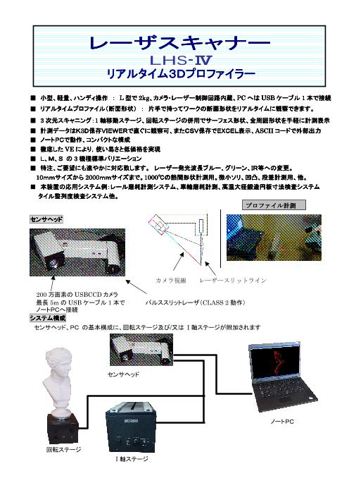 小型・軽量・ハンディ操作 レーザスキャナー リアルタイム3Dプロファイラー LHS-VI