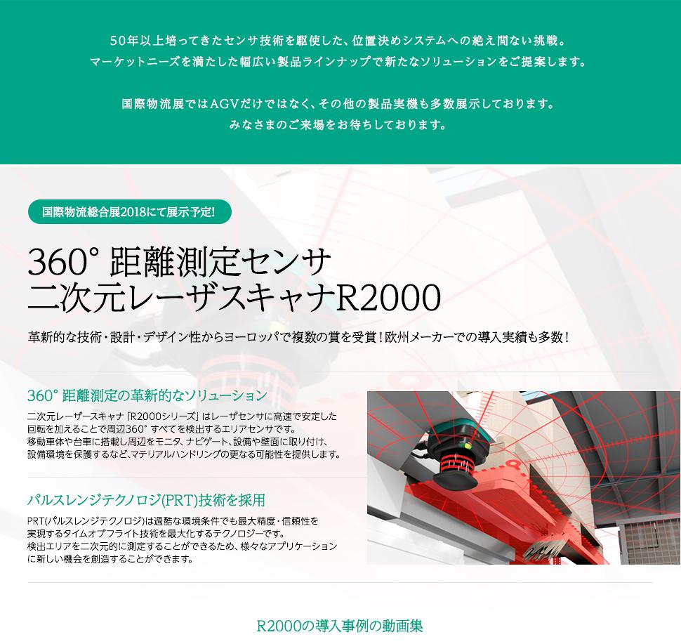360°距離測定センサ 二次元レーザスキャナR2000 革新的な技術・設計・デザイン性からヨーロッパで複数の賞を受賞!欧州メーカーでの導入実績も多数!