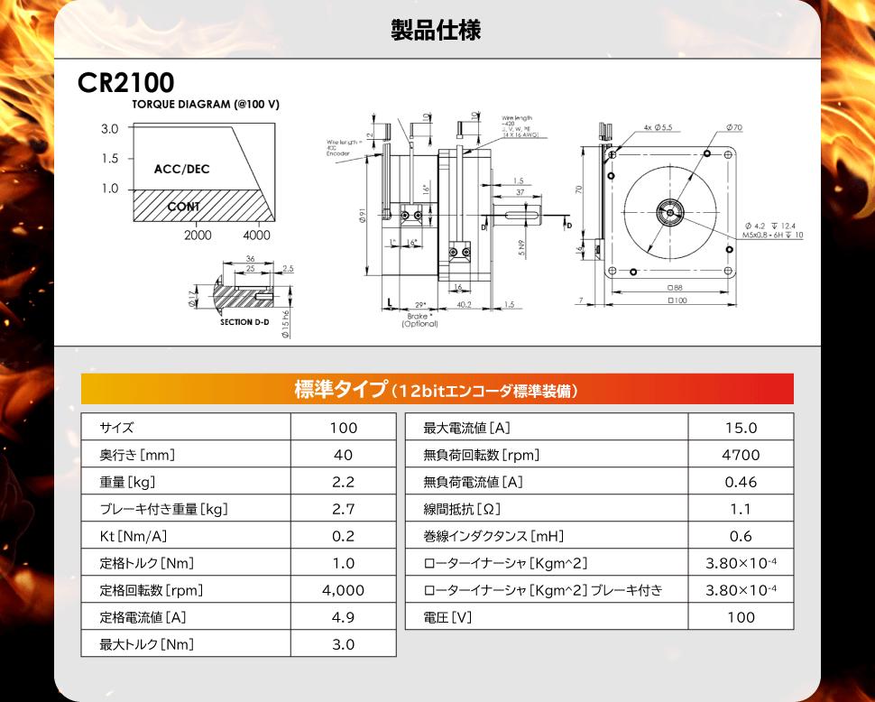 【製品仕様】CR2100 標準タイプ(12bitエンコーダー標準装備)