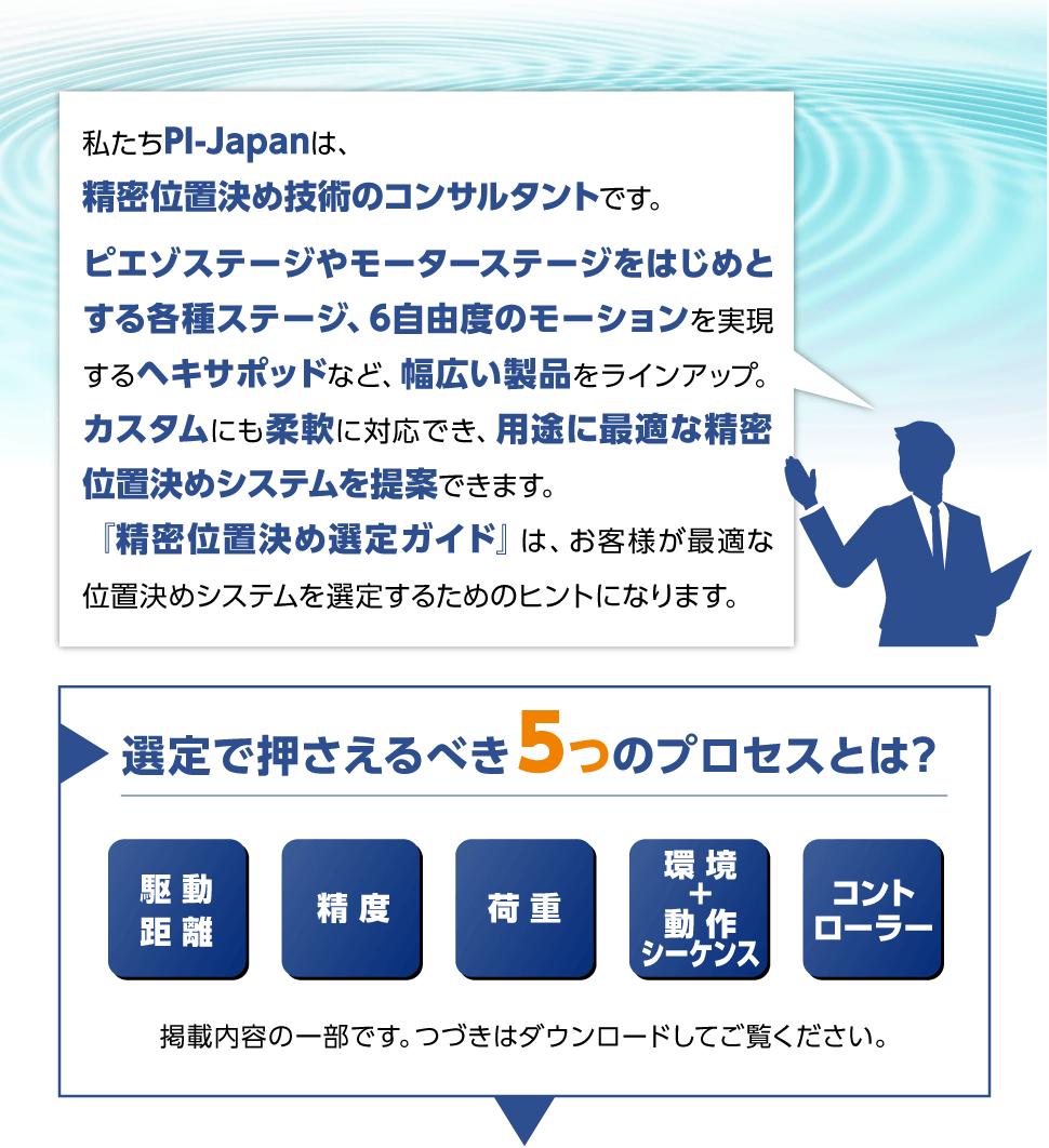 私たちPI-Japanは、精密位置決め技術のコンサルタントです。ピエゾステージやモーターステージをはじめとする各種ステージ、6自由度のモーションを実現するヘキサポッドなど、幅広い製品をラインアップ。カスタムにも柔軟に対応でき、用途に最適な精密位置決めシステムを提案できます。『精密位置決め選定ガイド』は、お客様が最適な位置決めシステムを選定するためのヒントになります。選定で押さえるべき5つのプロセスとは? 1.駆動距離 2.精度 3.荷重 4.環境+動作シーケンス 5.コントローラー 掲載内容の一部です。つづきはダウンロードしてご覧ください。